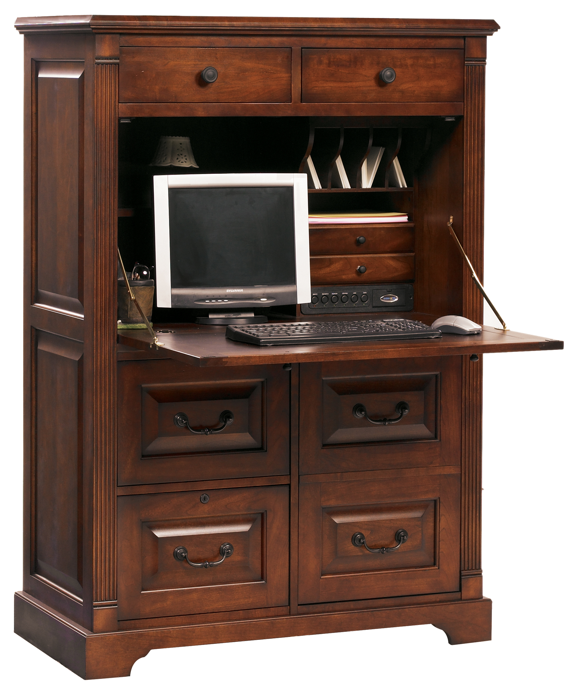 Closed Computer Armoire | Winners Only Country Cherry Collection